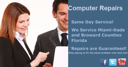 Miami Computer Repair, Same Day Service, Dade and Broward Counties